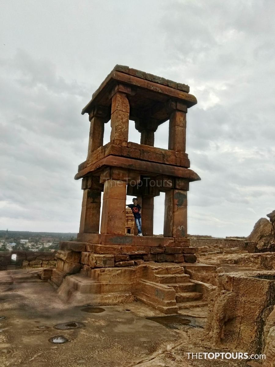 Badami Fort Bagalkot Ancient Stone Art Alignment by Chalukyas, Karnataka