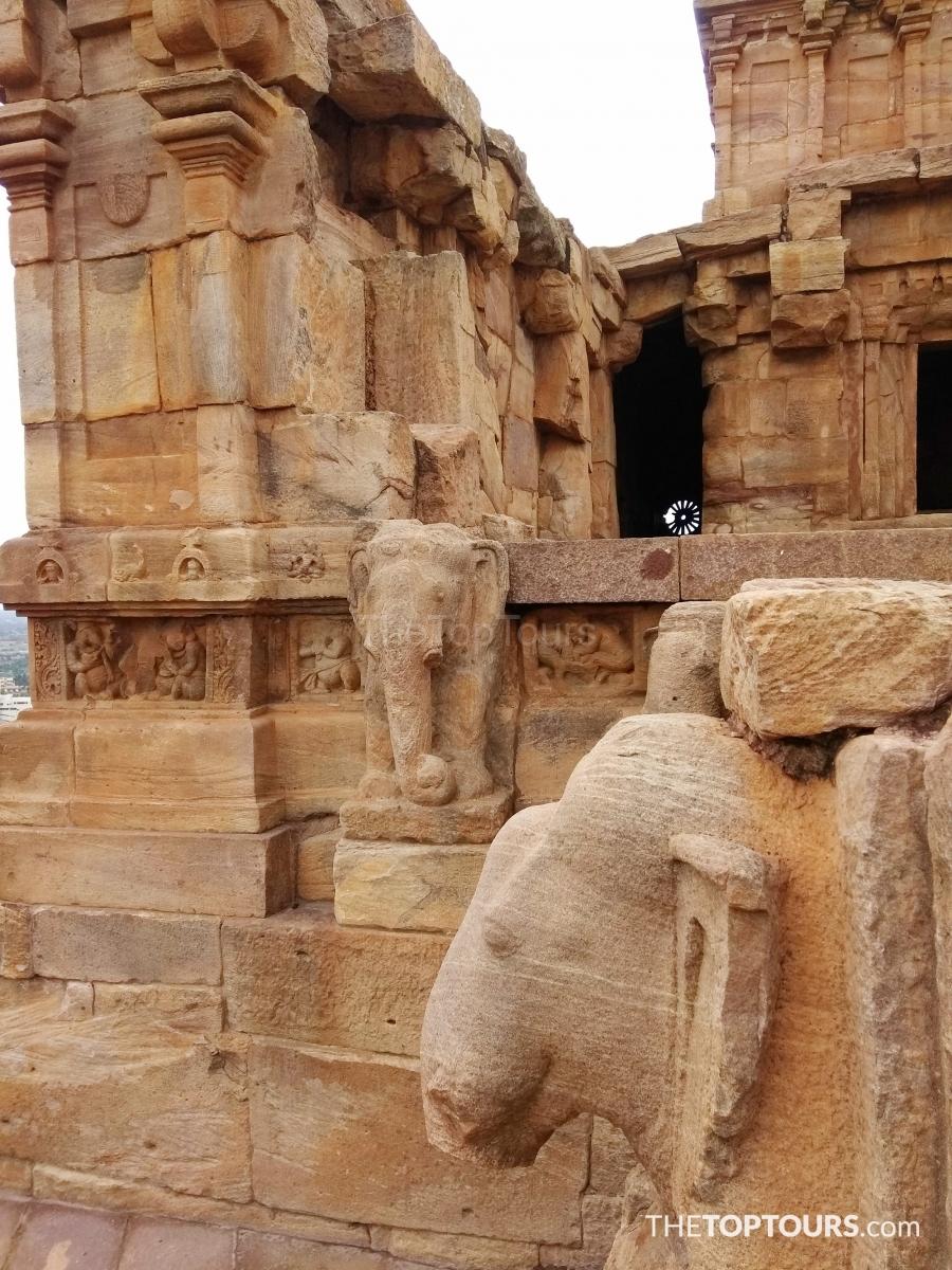 North Badami Fort Elephant Pillars at the Entrance of Upper Shivalaya