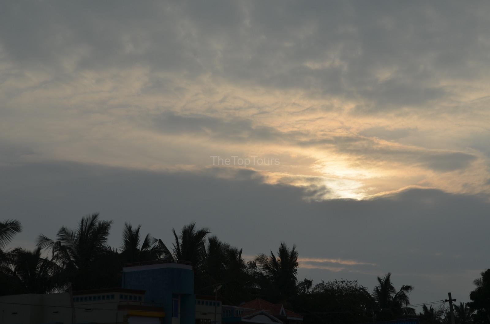 Cloudy Sky Sunset Nature  Near Madurai, Tamil Nadu