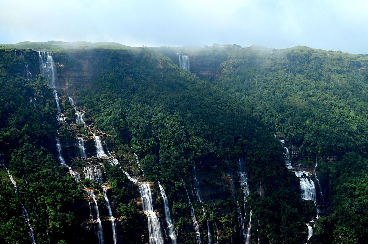 Visit Nohsngithiang WaterFalls or 7 Sisters Waterfalls in Cherrapunji