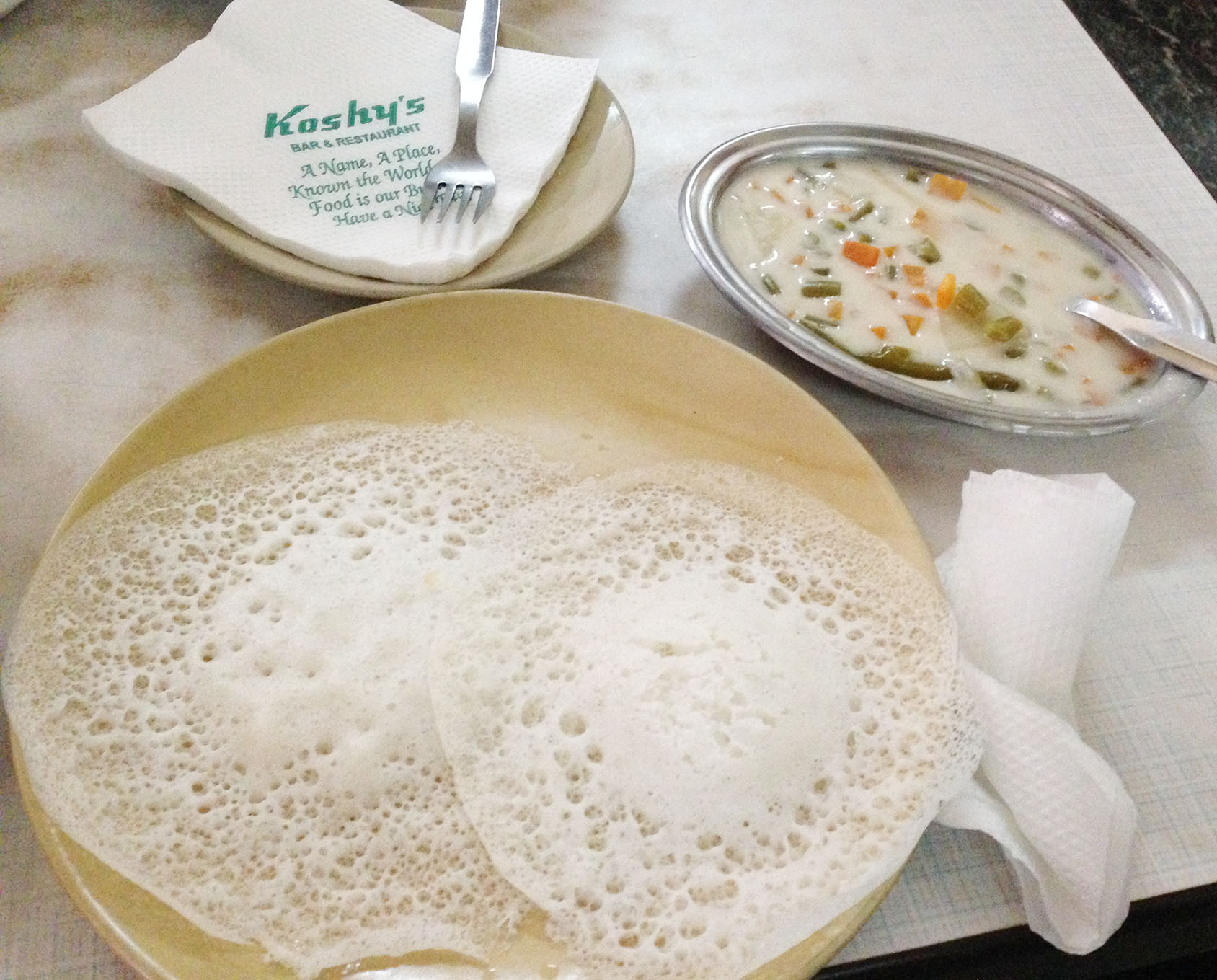 Appam with Stew - Kerala Dishes to Try When In Kerala