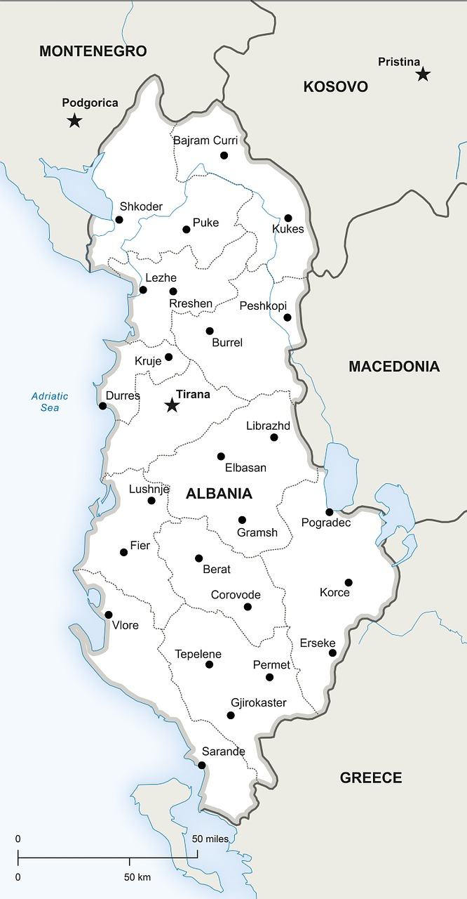 Geography of Albania, Europe