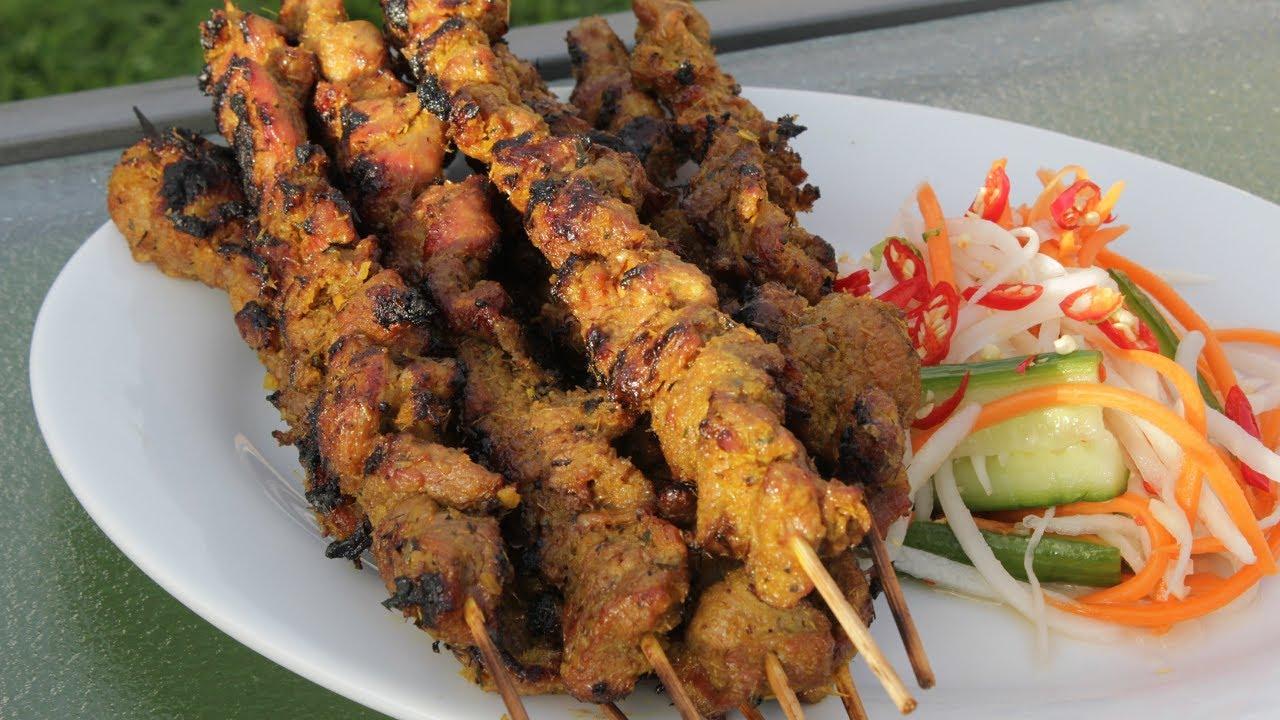Grilled Pork on Skewers-Best Street Food in Cambodia