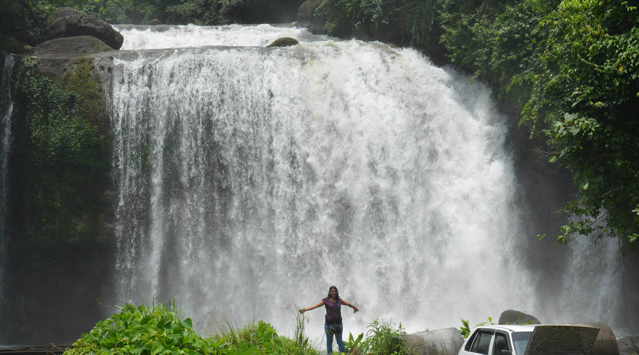 Visit Mawlynnong Waterfalls in Mawlynnong Village