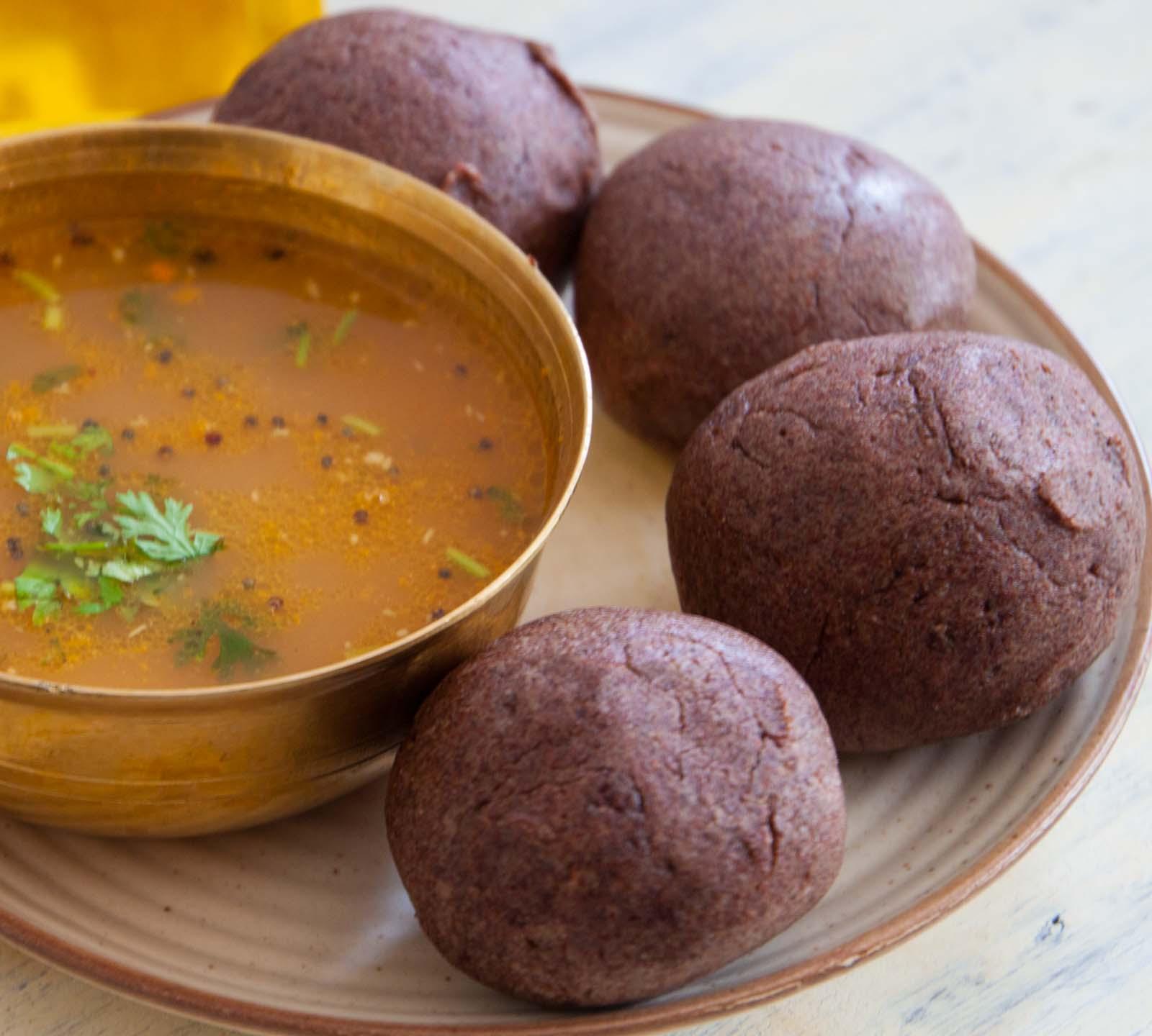 Popular Dish in Karnataka-Ragi Mudde and Sopinna Saru
