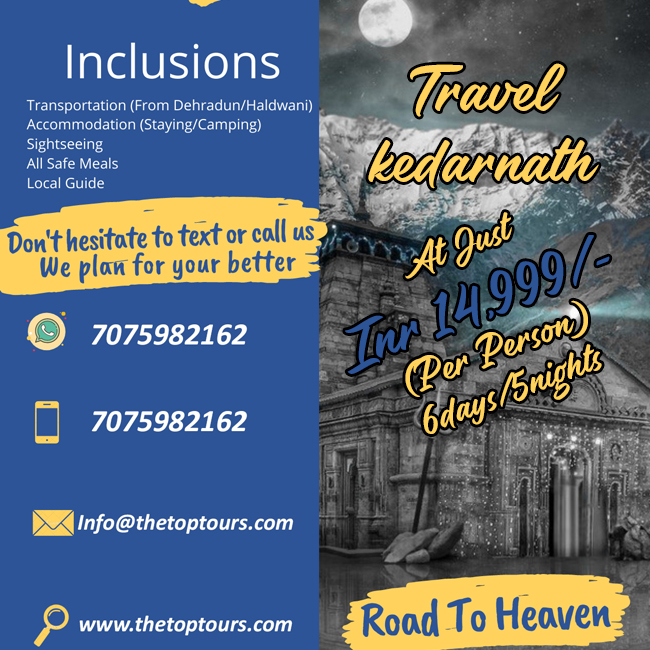 6 Days & 5 Nights Tour Package of Kedarnath Temple